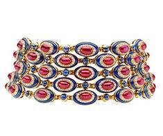 Bvlgari choker with cabochon rubies, lapiz lazuli, sapphires, diamonds and gold / Saw this at the Bvlgari exhibit