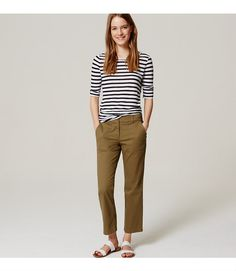 """With favorite utility details, this cropped pair is finished with an understated (and ultra flattering) flare. Your perfect fit if your hips are proportionate to your waist. Zip fly with button closure. Belt loops. Slash patch pockets. Coin pocket. Back button through patch pockets. 26"""" inseam."""