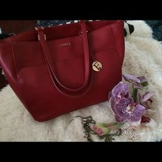 Furla red leather bag Great quality, genuine leather, like new! Furla Bags Totes
