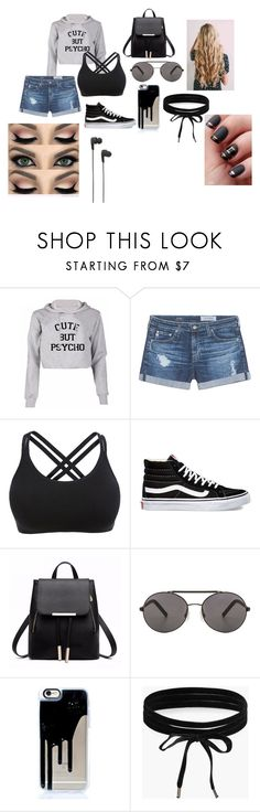 """""""Cute but psycho"""" by alondra-lemus909 ❤ liked on Polyvore featuring AG Adriano Goldschmied, Vans, Seafolly, Boohoo and B&O Play"""