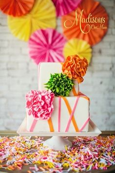 Neon and Neutral...... By DonnaOK on CakeCentral.com. Fondant flowers in neon.