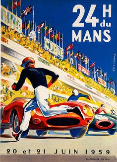 DP Vintage Posters - 24 hours Le Mans 1959 Original Vintage F1 Racing Poster