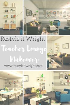 teacher lounge makeover with sherwin williams olympus white and thick stripes and rugs usa radiante