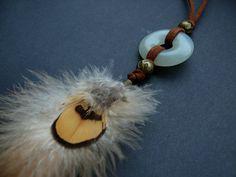 Edelsteen en veer hanger ketting Boheemse boho door DeiDreamCatchers