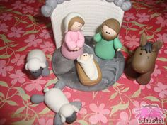Nativity Scene  cold porcelain with animals by AnahiA on Etsy, $20.00