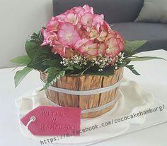 Flower pot hortensie cake