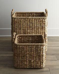 Storage Basket Seagrass Container Square Inset Handles 25cm X 25cm