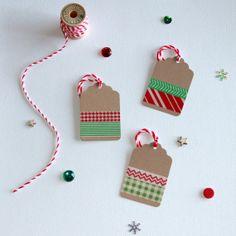 Washi Tape Kraft Christmas Tags (12) on Etsy, $6.00