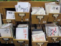Card catalog gift card display   at Renegade Craft Fair via Flickr