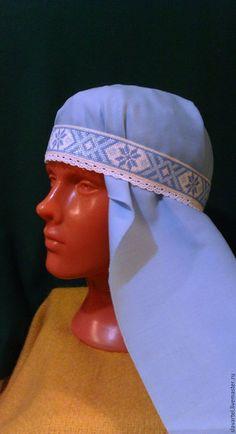 Одежда ручной работы. Ярмарка Мастеров - ручная работа. Купить Голубое очелье с кружевом. Handmade. Белый, русское очелье, шерсть
