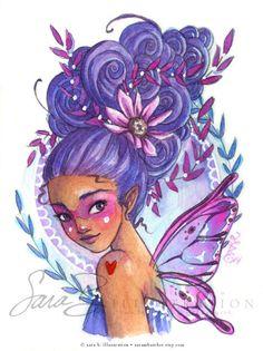 Violet Fairy Art Print Mini Art Pixie Grape by sarambutcher Magenta Flowers, Rainbow Art, Fairy Art, Illustrations, Digital Stamps, Line Art, Pixie, Fantasy Art, Watercolor Paintings