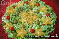 A sugestão é esta linda e nutritiva Salada de Acelga com Carambola (ou outra fruta que tenha)!  Com menos de 10 minutinhos está pronta!  #Receita aqui: http://www.gulosoesaudavel.com.br/2012/07/09/salada-acelga-carambola/