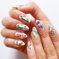 30 Stunning Color Co Nail Design Stiletto, Nail Design Glitter, Funky Nails, Cute Nails, Pretty Nails, Tropical Nail Designs, Funky Nail Designs, Hair And Nails, My Nails