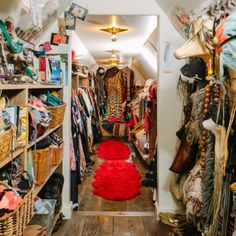 Sheila Youngblood, the owner of Rancho Pillow, gives us an exclusive look at her whimsical Austin home. Austin Homes, Texas Homes, Hippie Home Decor, Boho Decor, Dressing Room Closet, Dressing Rooms, Deco Boheme, Walk In Wardrobe, Dream Closets