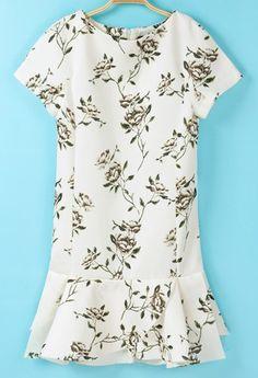 White Short Sleeve Floral Ruffle Dress