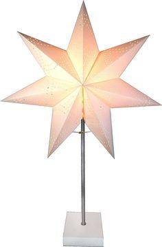 Bordsstjärna, Ståtlig adventsstjärna med vit fot, vit, 3502344