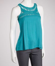 Take a look at this Blue Crocheted Tank by Fashion Apparel Industries, Inc. on #zulily today!