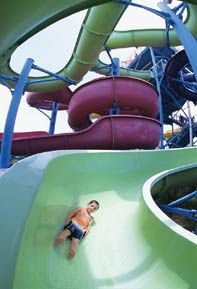 Waterville USA in Gulf Shores, Alabama, is water fun and more! Great slides, Flowrider (competitions hosted here!), wave pool, lazy river, go-carts, mini-golf (with plenty of water hazards!), House of Bounce, kiddie rides, arcade, train. Open year-round, waterpark open seasonally.