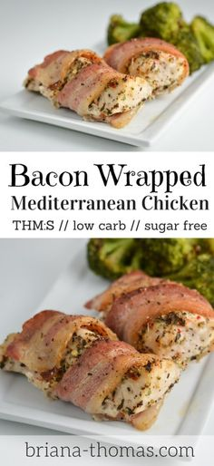 Bacon Wrapped Mediterranean Chicken // THM:S, low carb, sugar free