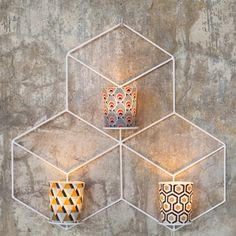 Bougeoir mural hexagonal en acier blanc (2 modèles)Serax
