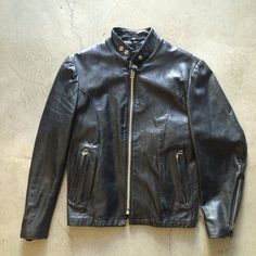 Vtg. 42R  Excelled  Black Leather Cafe' Racer Motorcycle Jacket Mint ! REDUCED!! #Excelled #Motorcycle