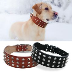 Studded 3-Layer Leather Dog Collars - 2 colors - FREE Shipping