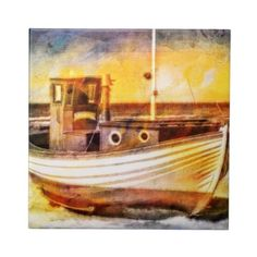 Nautical Fishing Boat on Beach at Sunset Ocean Art Ceramic Tiles  #SOLD on #Zazzle