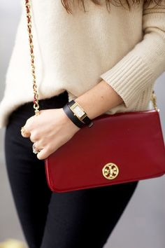 Classic Style | Light beige jumper | Black slacks | Tory Burch red purse with gold emblem and chain strap