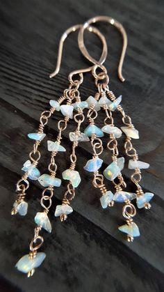 Opal And Rose Gold Earrings Real Raw Opal Opal Earrings