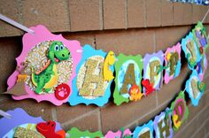 Your place to buy and sell all things handmade Creative Banners, Dinosaur Bones, Glitter Cardstock, Dinosaur Birthday Party, Name Banners, Color Change, Fossil, Card Stock, My Design