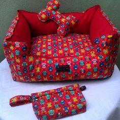 ♥cama cesto do Bicho Preguiça...acompanha ossinho de tecido e necessaire...estampa corujinhas..um charme!♥