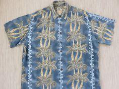Mens Hawaiian Shirt KAHALA John Severson Collection Vintage Surfer Aloha Shirt Surf Art Palm Trees Beach Wear - 2XL - Oahu Lew's Shirt Shack by OahuLewsShirtShack on Etsy