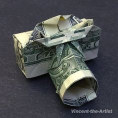 Dollar Bill Origami CAMERA  Great Money gift by VincentTheArtist, $9.95    I wanna pin this to you for your money dance!