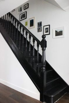 Black painted staircase in Litle Greene Jack Black paint #BlackInteriors