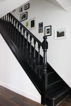 Black painted staircase in Litle Greene Jack Black paint #BlackInteriors: