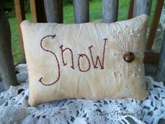 Snowflake Pillow Winter Christmas Snow Rusty by valleyprimitives, $8.00