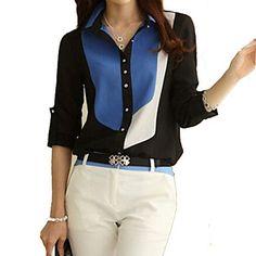 Women's Color Block Black/Blue Shirt, Work Shirt Collar Long Sleeve 1921444 2016 – $8.99