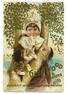 Victorian Advertising Trade Card Glenwood Ranges Heaters Girl with Cat | eBay