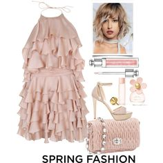 Sweet Spring Dress by grinevagh on Polyvore featuring Balmain, Jimmy Choo, Christian Dior and Marc Jacobs