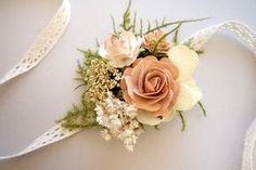 Blush Wrist Corsage Prom Corsage Boho by MoonflowerNatureArt