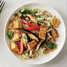 Asian Stir-Fry Quinoa Bowl | Cooking Light #myplate #veggies #wholegrain