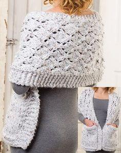 Knitting Pattern Mega Tweed Pocket Shawl