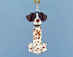 German Shorthaired Pointer Ornament or Pendant - Lampwork Glass Bead SRA by SUZOOM on Etsy