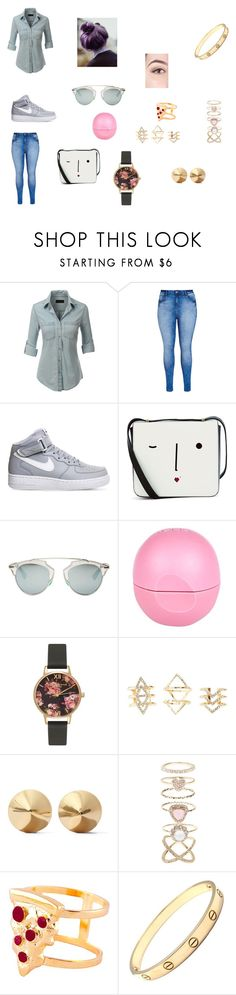 """""""new york"""" by starlord221b on Polyvore featuring LE3NO, City Chic, NIKE, Lulu Guinness, Christian Dior, River Island, Olivia Burton, Charlotte Russe, Eddie Borgo and Accessorize"""