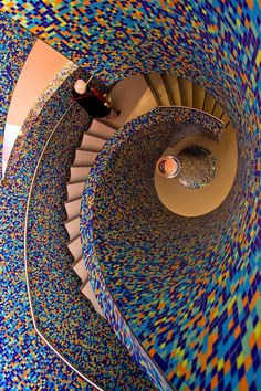 Groninger Museum staircase, Groningen, The Netherlands. Amazing Architecture, Art And Architecture, Architecture Details, Grand Staircase, Staircase Design, Tiled Staircase, Beautiful Stairs, Take The Stairs, Stair Steps