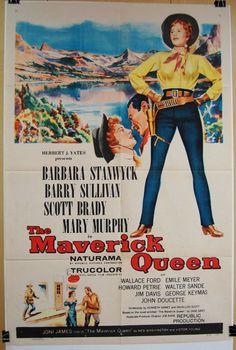 "1956 ""The Maverick Queen"" Original 27 x 41"" Movie Poster WESTERN BARBARA STANWYCK.."
