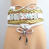 SPECIAL - FREE SHIPPING! Great for a Maid of Honor Gift. Show off the Maid of Honor with one of these beautiful premium hand made braided leather cord bracelets. Adjustable chain link on back side for