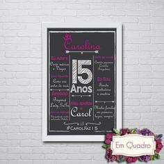 Chalkboard para aniversário tamanho A4    Ideal para usar como quadro ou objeto de decoração.    Tamanho Padrão A4  - Tamanho do Quadro 21cm x 30cm  - Moldura em madeira com vidro e acabamento laqueado fosco (Cores: preta ou branca)  - Impresso em Papel Couché    Tamanho A3 + R$ 50,00  - Tamanho ...