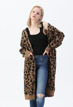 Leopard Pockets Longline Cardigan in Brown - OUTERS - Retro, Indie and Unique Fashion Longline Cardigan, Chunky Cardigan, Knit Cardigan, Unique Fashion, Kids Fashion, Fashion Design, Women's Fashion, Fashion Outfits, Leopard Print Cardigan