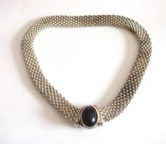 VINTAGE 80 S SILVER TONE BLACK LUCITE CHUNKY CHAIN COLLAR STATEMENT NECKLACE